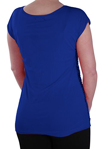 EyeCatch - Aux femmes Paillette Agrémentée Éclat Fête Dames Soir Tops Royal Bleu
