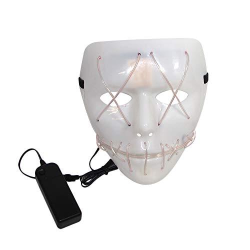 Gesicht Kostüm Das Weiße - Vikenner Halloween Leuchtende Maske Ghost Gesichtsmaske Kopf Horror Masken für Party Festival Kostüm Cosplay Gesicht Requisiten Erwachsene-Weiß