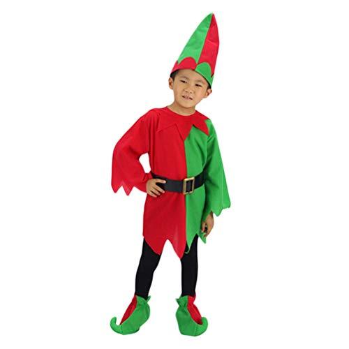 JEELINBORE Unisex Elfen Kostüm, Tunika und Mütze Weihnachten Kostüm Jungen Mädchen Weihnachtself Fancy Dress mit Gürtel - Elf, 130 (Für höhe - Fancy Dress Kostüm Für Weihnachten