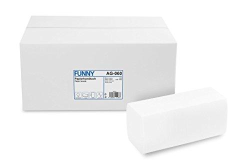 Funny Papierhandtücher Hochweiss, Zellstoff, ZZ/V-Falz, 4000 Stück im Karton, 24,5 x 22 cm 2 lagig