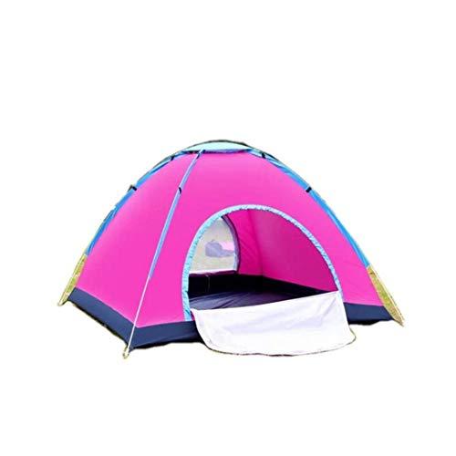 LUHUIYUAN Zelt Outdoor Automatisches Campingzelt Doppeltür tragbares Zelt 3-4 Personen Geschwindigkeit offenes Handwerfen Campingzelt,Pink