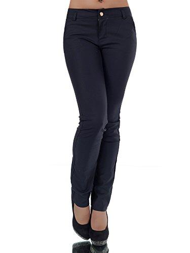 L866 Damen Business Hosen Stoffhose Bootcut Elegante Hose Classic Gerades Bein, Farben:Dunkelblau;Größen:40 (L) (Bein Gestreift Jeans Gerades)
