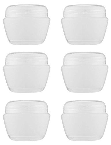 MYLL 6 Pièces 50ML/50g Pot Creme Vide en Plastique avec Couvercle | Contenant Cosmétiques Vide/Petit Boite - pour Echantillon/Paillette/Maquillage/Crème - sans BPA (Transparent)