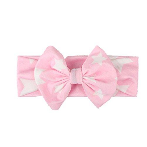 kingko® Kinder Baby Mädchen Kopf Zubehör Stirnband Baby Elastische Bowknot Headwear Rosa