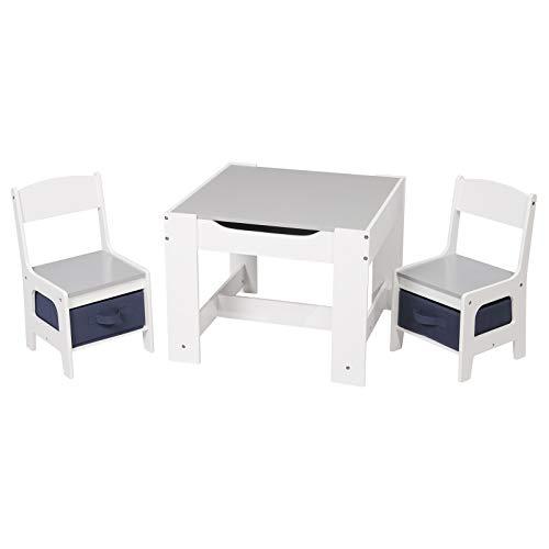 WOLTU 3tlg. Kindersitzgruppe Kindertisch mit 2 Stühle Sitzgruppe mit Stauraum für Kinder Vorschüler Kindermöbel, SG004