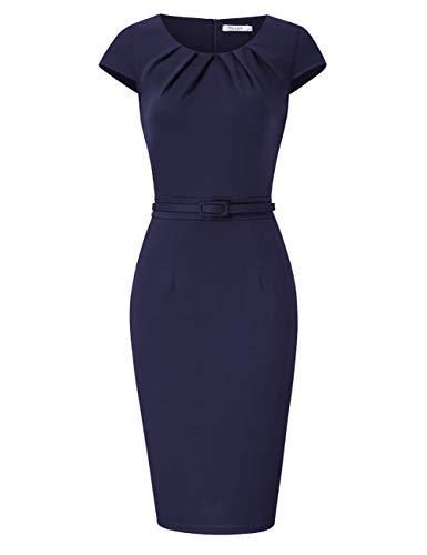 KOJOOIN Damen Etuikleid Business Bodycon Knielang Kleider Kurzarm festliches Cocktail Bleistiftkleid mit Gürtel Navy Dunkelblau M (Frauen-reißverschluss-kleid)