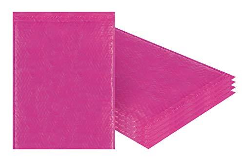 Amiff Luftpolsterversandtaschen, 14,25 x 19 cm, Pink Poly Kissenumschläge, groß, 5 Stück Außengröße 14,25 x 20 (14 1/4 x 20). Haftklebung. Versand Versand Versand Verpackung