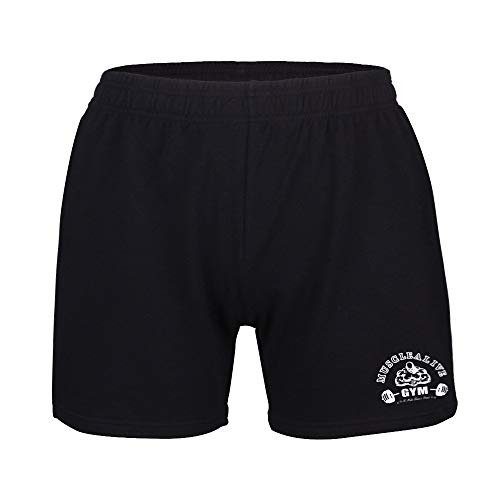 Musclealive Mens Bodybuilding Gym 5 inseam Shorts Terry Cotton, MA-Black, Gr.L