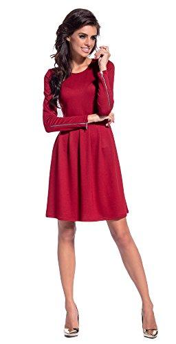 Lemoniade trendiges Kleid mit frechen Reißverschlüssen an den langen Ärmeln, karminrot, Gr. S