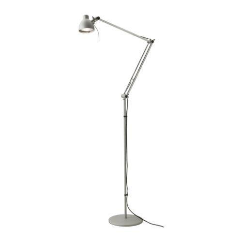 """IKEA Stehlampe """"ANTIFONI"""" 150cm hohe Stehleuchte mit verstellbarem Arm und Kopf - Schirmdurchmesser 10cm - stabil - vernickelter Stahl"""