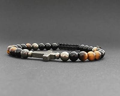 Bracelet homme pierres naturelles pyrite, œil de tigre, onyx, croix en pyrite