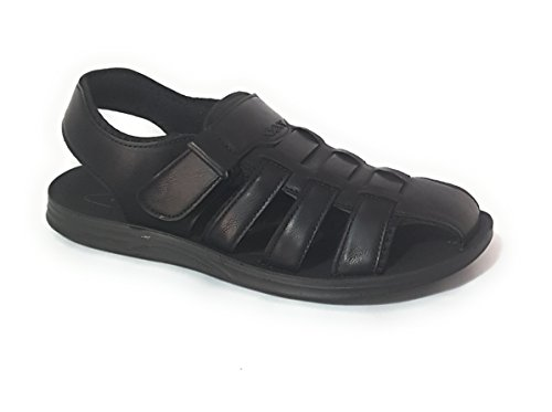 THE SHOE SHOP Mens Leather Fisherman Sandals (40, Black)