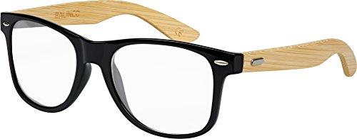 Hochwertige Bambus Holz Nerd Sonnenbrille Rubber im Wayfarer Stil Retro Vintage Unisex Brille mit Federscharnier - 9 verschiedene Farben/Modelle wählbar (Bambus - Transparent)