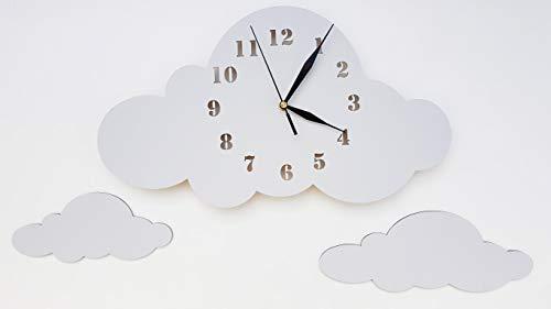 BABEES Kinder Wanduhr Wolken, Uhr ohne Tickgeräusche, Kinderuhr für Kinderzimmer, Lautlos Uhrwerk, Wanddeko Skandi Deko Junge Mädchen grau