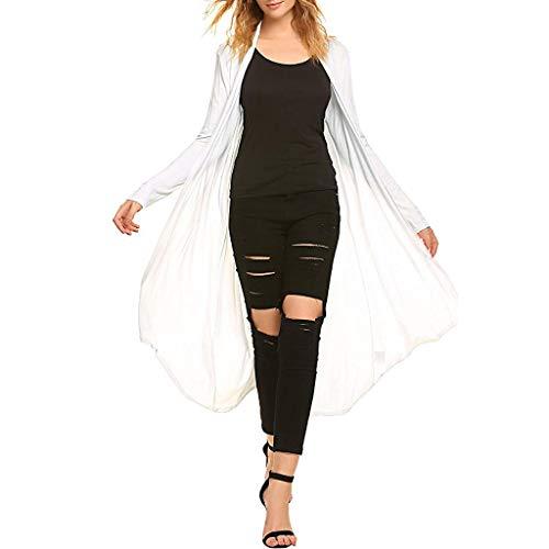 BHYDRY Frauen Casual Long Open Front drapieren Maxi Langarm Strickjacke mit Tasche(Large,Weiß) -