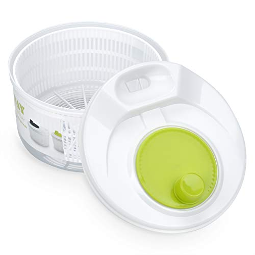 OAMCEG Salatschleuder, Salat-Trockner mit Kurbel (Ø 20 cm mit 3 L Fassungsvermögen, Transparent/Weiß Grün), auch als Salatschüssel und Seiher verwendbar - Spülmaschinengeeignet