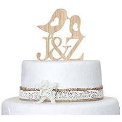 Holz Hochzeit Tortenaufsatz, mit Love Kiss Vögel und Monogramm Personalisierte Initiale