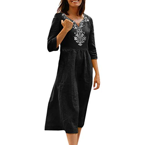 Sonojie Clearance sale Women's Half Sleeve Simple Casual Daily Solid National Style Print Knee Length Fashion Summer-Spring Loose Dress Black