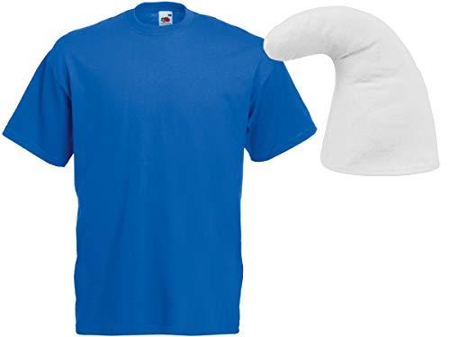 Kostüm Schlumpf Blaue - Alsino Blaues Zwergen Kostüm Verkleidung (Kv-136) mit blauem T-Shirt und weißer Zwergenmütze, Größe:L