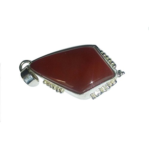 Akshara V Sales Natural Red Onyx Gemstone 92.5 German Silver Pendant For Men's and Women's Fashion Jewellery