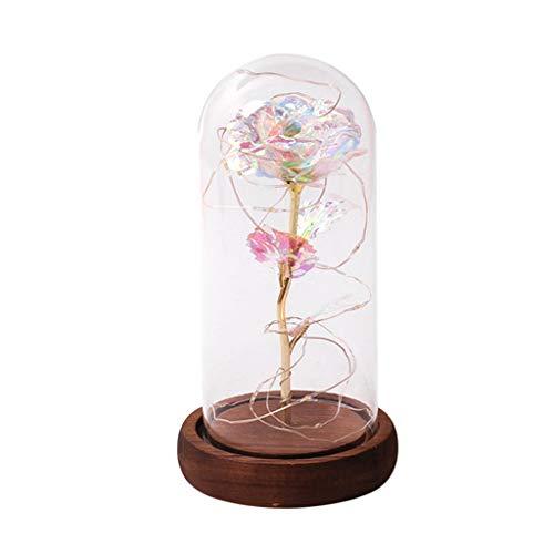 Muttertag Romantische Rose LED Glasflasche Lampe Nachtlicht Home Room Decor Valentine for Your Lover Sweetheart Dekorative Lichter (A) (Valentine Decor Home)