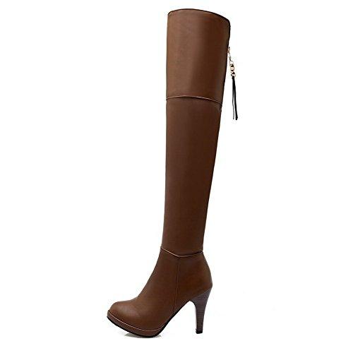 VogueZone009 Damen Mattglasbirne Niedriger Absatz Rund Zehe Rein Reißverschluss Stiefel, Gelb, 36