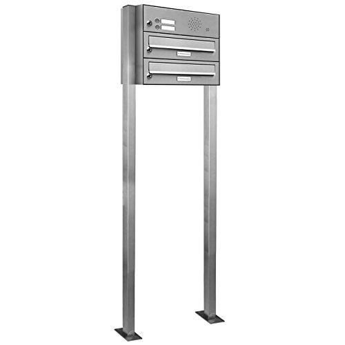 AL Briefkastensysteme 2er Edelstahl Standbriefkasten mit Klingel rostfrei als 2 Fach Briefkastenanlage in Postkasten Doppel-Briefkasten Design modern