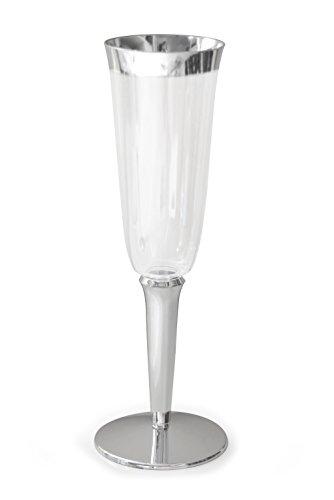 Occasions Einweg-Becher für Wein/Champagner, aus Kunststoff 60 pcs Silver Rimmed, 6 oz Champagne Flute