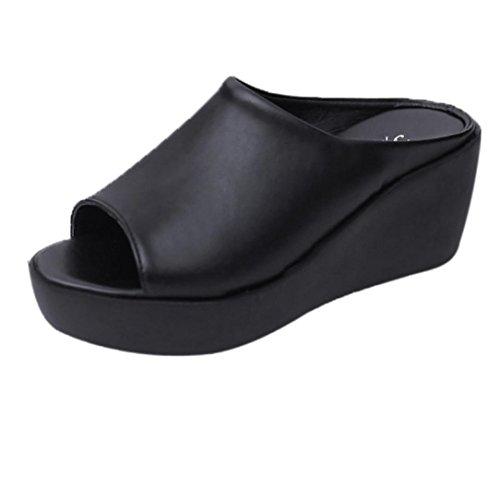 Yesmile Sandalias Para Mujer Zapatos Casual de Mujer Sandalias de Verano Para Fiesta y Boda Sandalias con La Boca del Pescado Zapatos Zapatillas de Deporte con Gruesas Inferiores (35, Negro)
