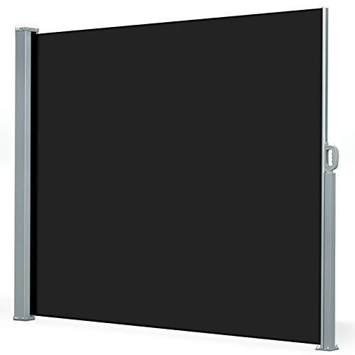 casa pura® Seitenmarkise Schwarz   ausziehbar bis 300 cm Länge   effektiver Sichtschutz, Sonnenschutz & Windschutz   für Terrasse, Balkon und Garten   in vielen Höhen ( Größe Stoffbahn HxL 200x300 cm )
