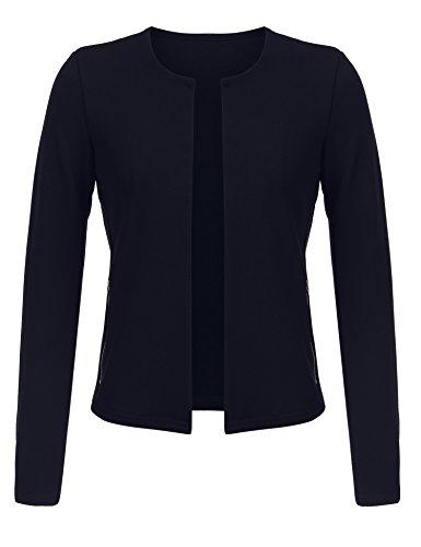 Beyove Damen Kragenlos Blazer Sakko Klassisch Kurzjacke damen Mit Taschen Tailliert, Navy, EU 36(Herstellergröße: S) (Klassische Damen-strickjacke)