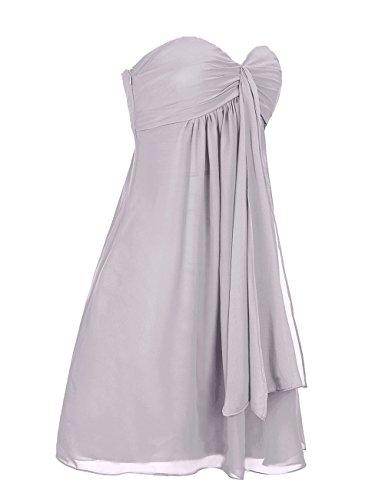 Dresstells, robe courte de demoiselle d'honneur mousseline sans bretelles col en cœur Bleu