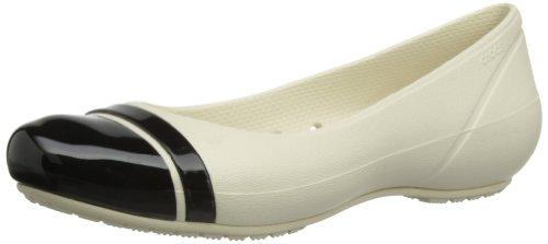 Crocs Cap Toe Flat Damen Ballerinas, Beige (Stucco/Black 16U), 33/34 (Cap Crocs Toe)