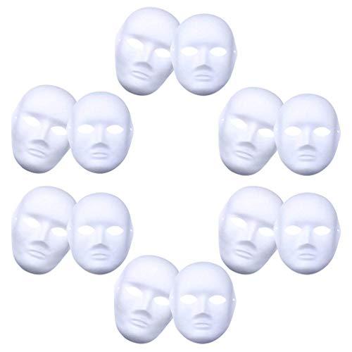 BIEE Weiße Maske Unbemalt Maskerade Weiß Maske Venezianischen Karneval Cosplay Kostüm(12 Stücke) (Halloween-maske Die Purge-stil)