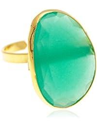 Córdoba Jewels | Sortija en Plata de Ley 925 bañada en Oro con piedra semipreciosa 23x15mm