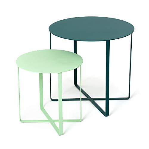 Juego de 2 mesas auxiliares de metal para sofá, balcón, terraza, barbacoa, plantas, mesa de café moderna, mesa redonda para exteriores, mesa de café lateral, Urban Jungle, verde, coral, gris, azul