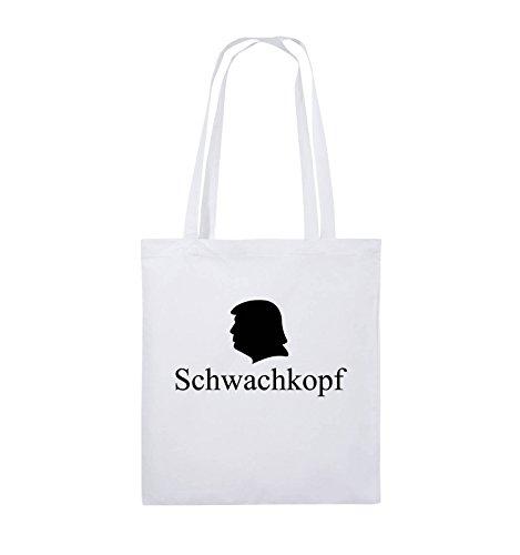 Comedy Bags - Schwachkopf - TRUMP - Jutebeutel - lange Henkel - 38x42cm - Farbe: Schwarz / Pink Weiss / Schwarz