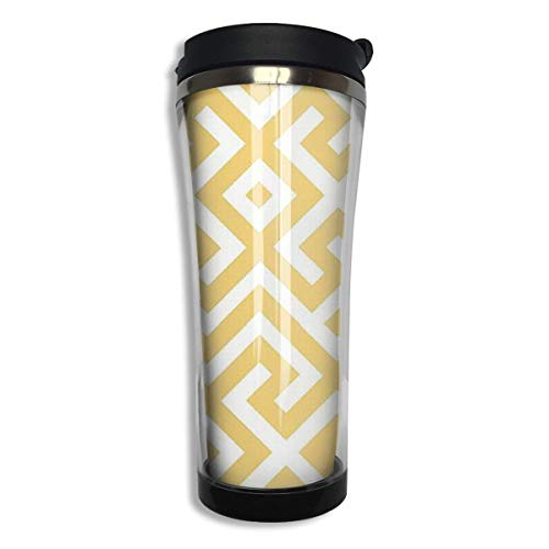 Geometric Gold Bars Printed Stainless Steel Mug Hot Cold Tumbler Silicone Seal Liquid Tight Travel Mug Vacuum Sealed Drink Bottle 14 Oz (420 Ml) -