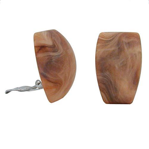 Clip Ohrring 27x17mm Trapez horn-marmoriert matt Kunststoff-Bouton