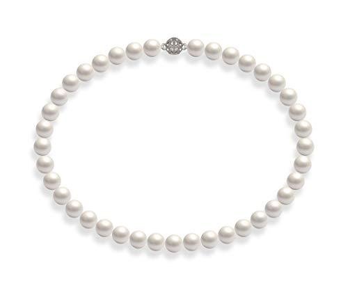 Schmuckwilli Damen Muschelkernperlen Perlenkette Weiß Magnetverschluß echte Muschel 50cm dmk1019-50 (10mm)