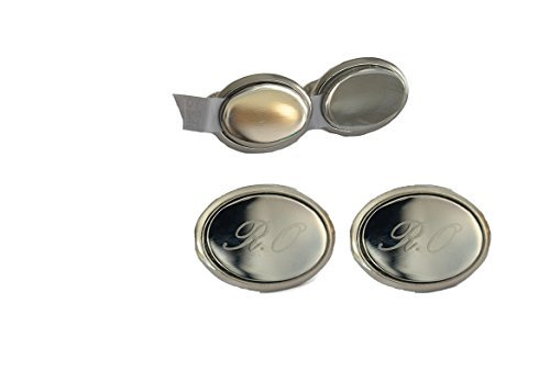 Personnalisé ovale boutons de manchette à graver en or ou argent silver