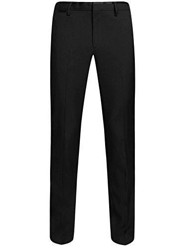 oodji Ultra Homme Pantalon Classique avec Ceinture en Satin Noir (2929B)