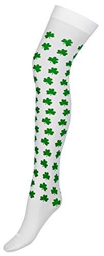 Das Kostümland Overknees Kniestrümpfe mit Glücksklee für Damen - Accessoire Glücksbringer Schornsteinfeger Kostüm Silvester - Glücksbringer Kostüm