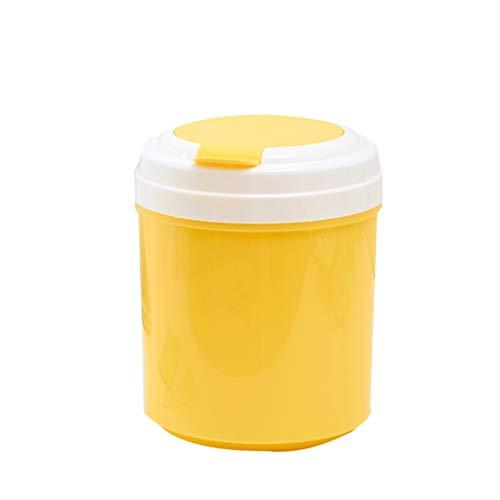 XIANGYU Mini Desktop Flip Mülleimer, Home Kreative Nachttisch Top Kleine Mülleimer Runde Küche Aufbewahrungseimer (Color : Yellow)