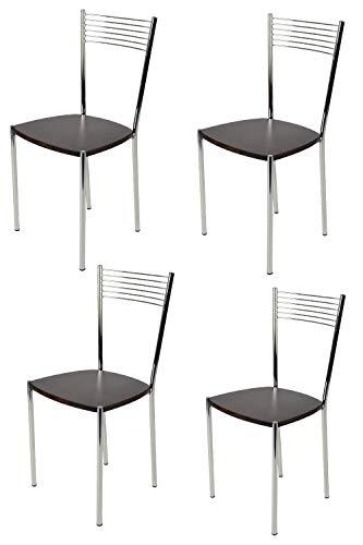 Set 4 Sedie Cucina.Tommychairs Set 4 Sedie Moderne E Di Design Elegance Per Cucina Bar Salotti E Sala Da Pranzo Con Robusta Struttura In Acciaio Cromato E Seduta In
