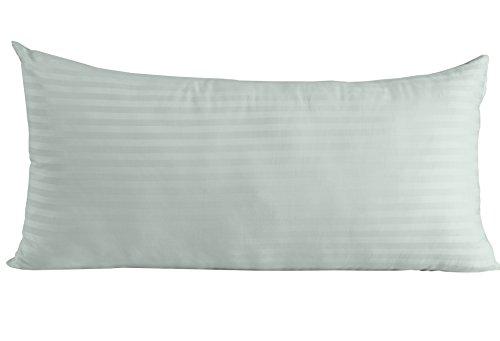 Homescapes Kissenbezug 50 x 90 cm hellblau mit Satin-Streifen - 100% Reine ägyptische Baumwolle, Fadendichte 330 - Kissenhülle mit Hotelverschluss, extra groß -
