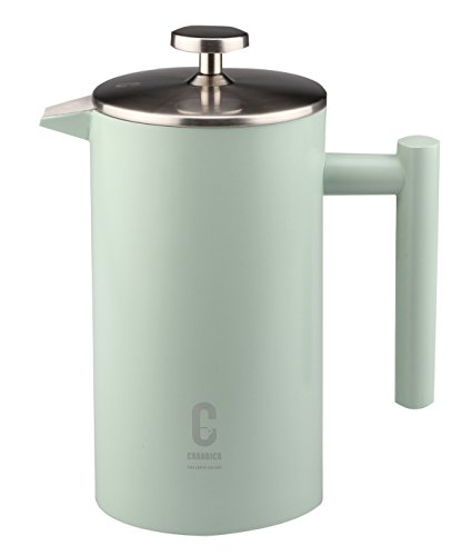 carabica French Press Stempelkanne   Kaffeebereiter   doppelwandig   Edelstahl inkl. Dosierlöffel