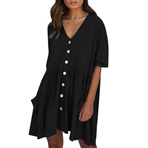 VJGOAL Damen Kleider, Frauen Elegant Volltonfarbe Lose Taste Strandkleid Sommer Mode Wild V-Ausschnitt Minikleid Dresses for Women(Schwarz,XL) (Womens Kostüme 1970 Ist)