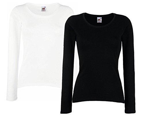 Fruit of The Loom Lady-Fit Valueweight T LSL Damen Sweatshirt Langarm Shirt Doppelpack (XS, Schwarz & Weiß)