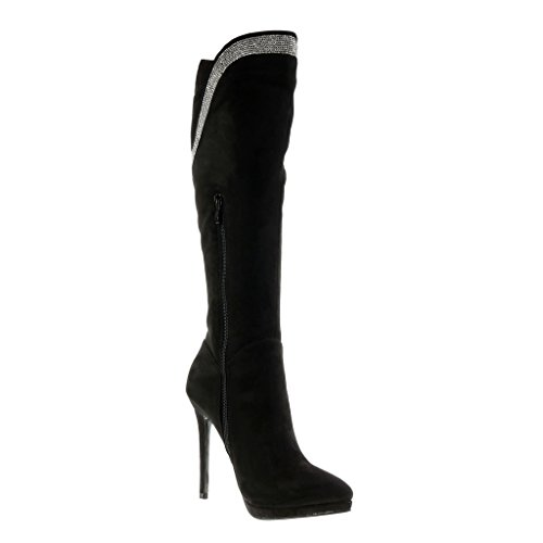 Angkorly Damen Schuhe Stiefel - Stiletto - Flexible - Strass Blockabsatz High Heel 11.5 cm Schwarz